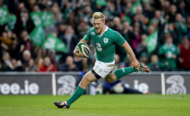 Stuart Olding breaks free to score his sides sixth try