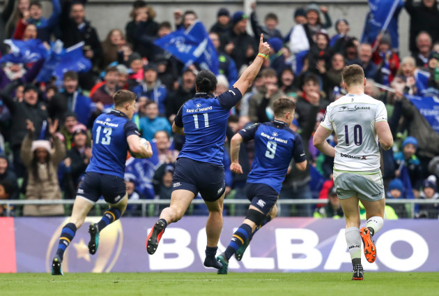 James Lowe celebrates as Garry Ringrose scores a try