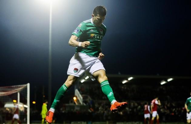 Graham Cummins celebrates scoring a goal