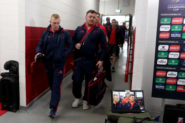 Keith Earls and Dave Kilcoyne arrive