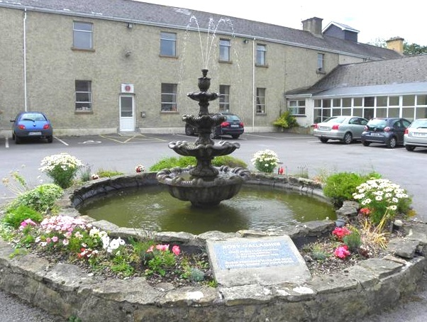 The fountain at Ballyshannon's Rock Hospital, featuring Gallagher's birthplace plaque.