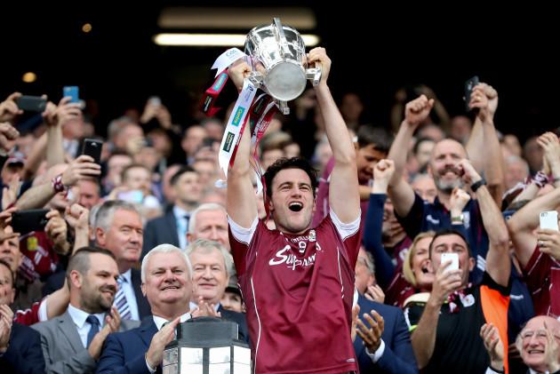 David Burke lifts the Liam McCarthy