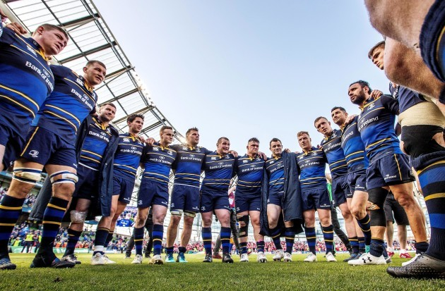 The Leinster team huddle after the game
