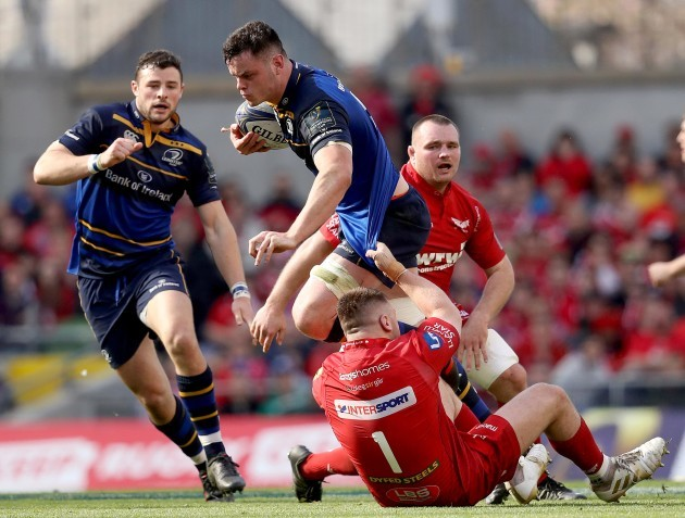 James Ryan tackled by Rob Evans