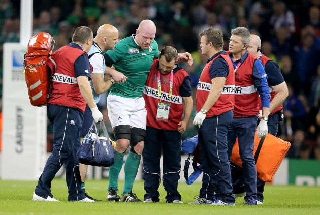 Paul O'Connell injured with Dr Eanna Falvey