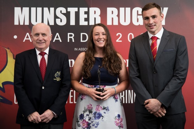Tommy O'Donnell and Charlie Buckley present Gill Bourke with the Women's Player Of The Year Award