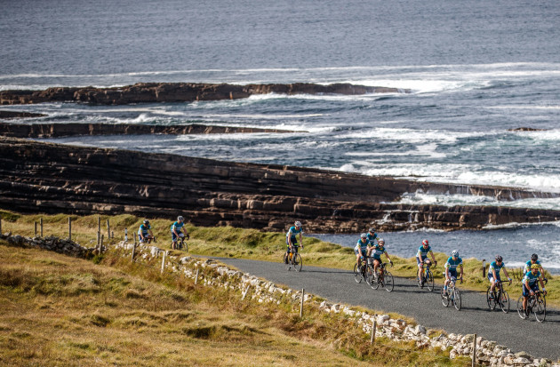 The riders as they pass through Mullaghmore