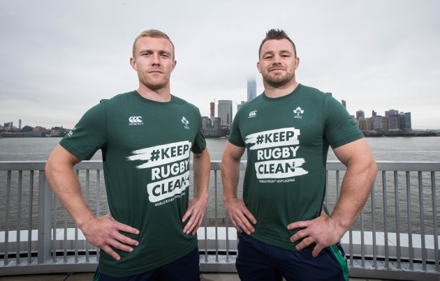 Cian Healy and Keith Earls in support of the Keep Rugby Clean campaign