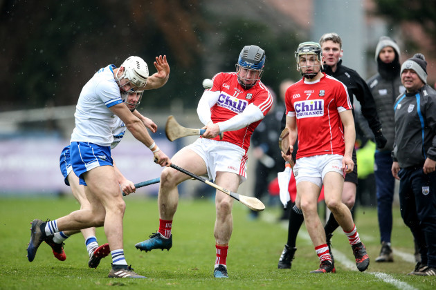 Conor Lehane is closed down by Shane Fives and Tommy Ryan