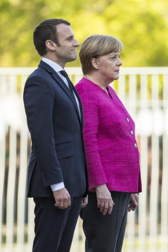 Germany: French President Emmanuel Macron Meets Angela Merkel in Berlin