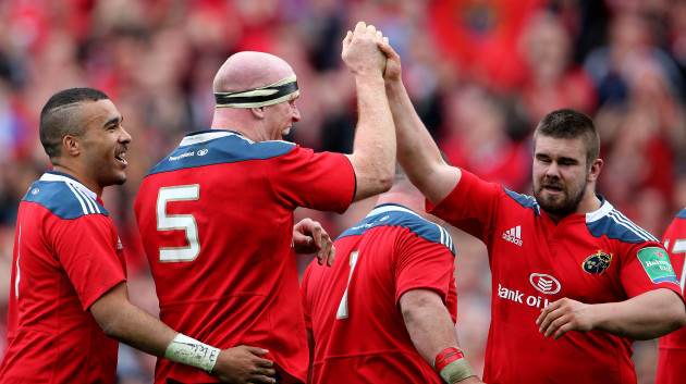 Simon Zebo, Paul O'Connell and Duncan Casey celebrate