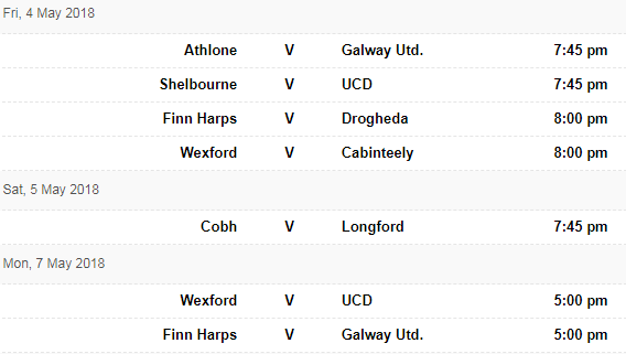 1st Div fixtures 4 May