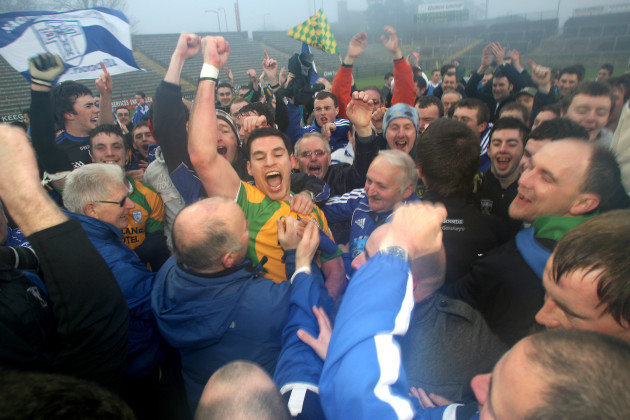 Johnny McLoone celebrates at the end of the game