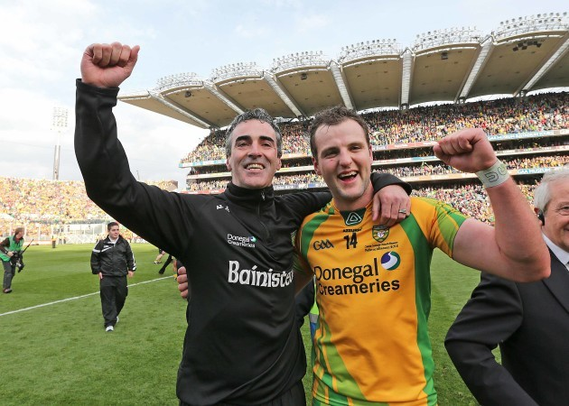Jim McGuinness celebrates with Michael Murphy