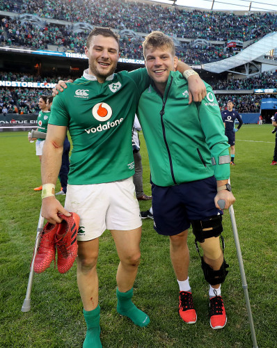 Jordi Murphy and Robbie Henshaw celebrate winning