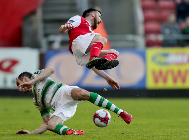 Ryan Brennan tackled by Joey O'Brien
