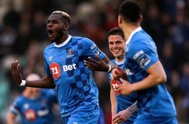 Izzy Akinade celebrates scoring his sides second goal