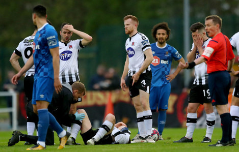 Stephen O'Donnell injured as his team mates look on