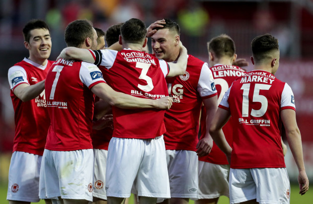 St Patrick's Athletic players celebrate after their side's goal