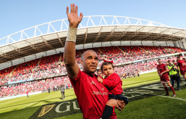 Simon Zebo with his daughter Sofia after the game