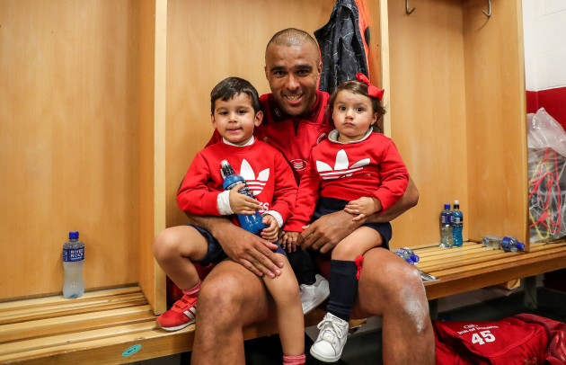 Simon Zebo with his son Jacob and daughter Sofia in the dressing room after the game