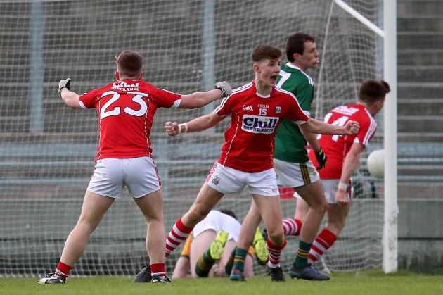 Conor Corbett celebrates scoring a goal