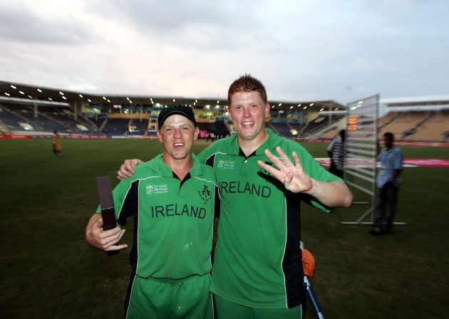 Niall and Kevin O'Brien celebrate beating Pakistan