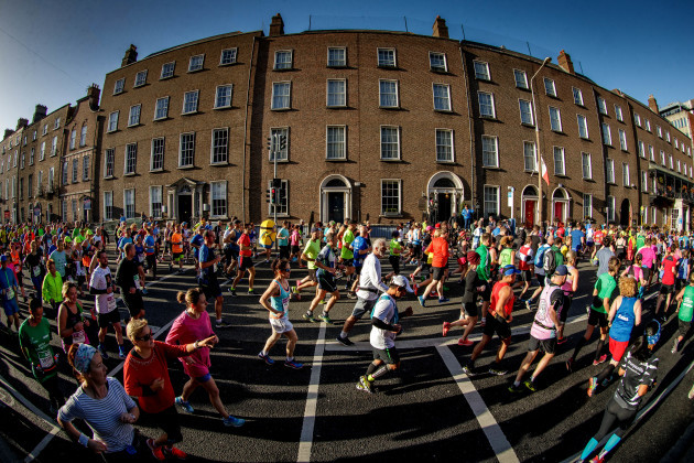 A view of the Dublin Marathon as runners make there way down Leeson Street
