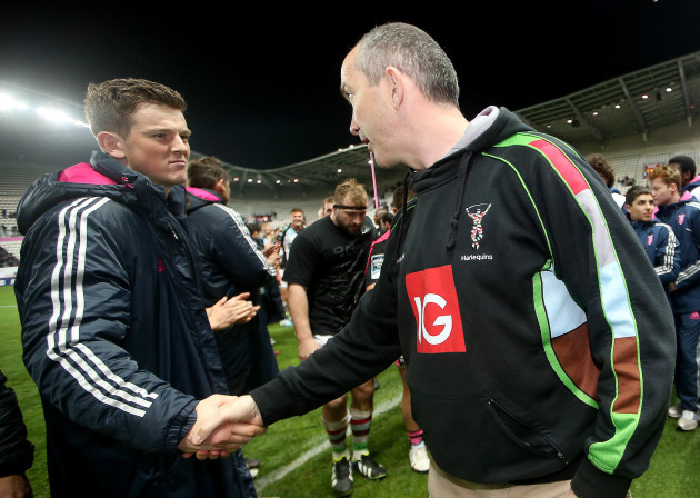 Peter Lydon and head coach Conor O'Shea after the game