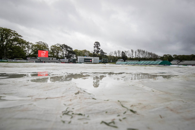 A view of wet conditions at Malahide Cricket Club
