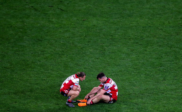 Callum Braley and Mark Atkinson dejected after the game
