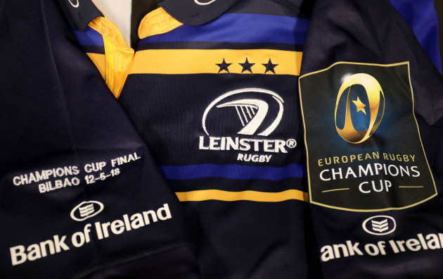 A general view of a Leinster jersey and European Rugby Champions Cup badge before the game