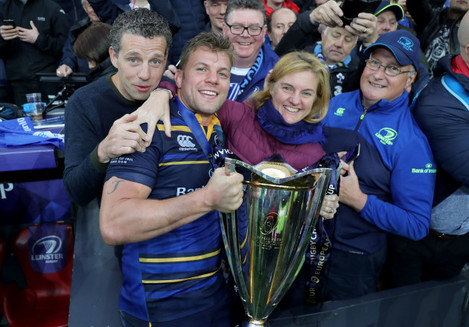 Jordi Murphy and his family celebrate with the European Rugby Champions Cup trophy