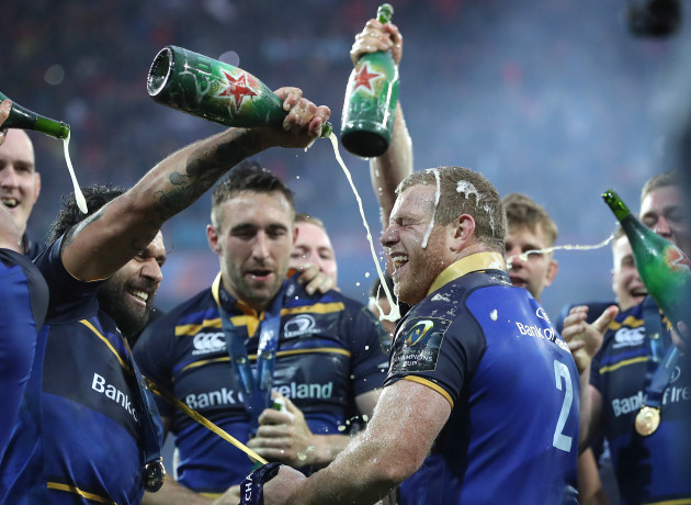 Sean Cronin and Isa Nacewa celebrate winning the European Rugby Champions Cup Final