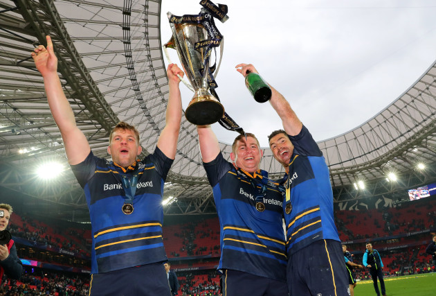 Jordi Murphy, Tadhg Furlong and Rob Kearney celebrate with the European Rugby Champions Cup after the game