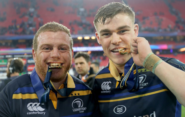 Sean Cronin and Garry Ringrose celebrate with their European Rugby Champions medals