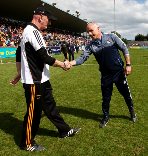 Brian Cody with Anthony Cunningham at the end of the game