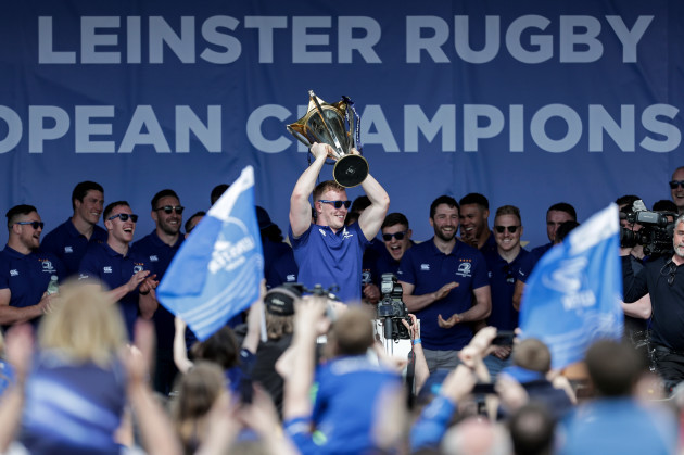 Dan Leavy lifts the European Rugby Champions Cup trophy