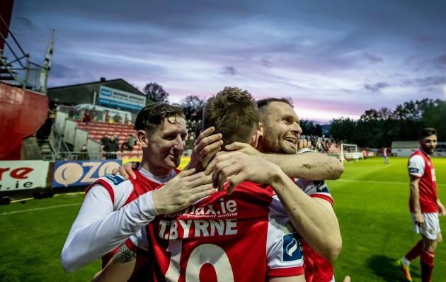 St. Patricks Athletic players congratulate goal scorer Thomas Byrne