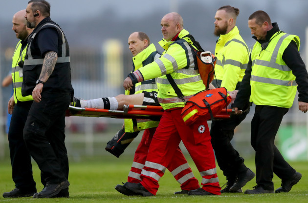 Stephen O'Donnell leaves the field injured