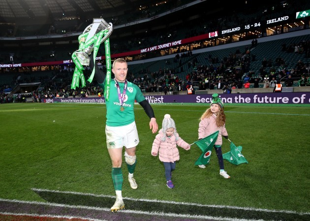 Keith Earls celebrates winning with his daughters Ella May and Laurie