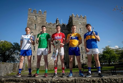 Waterford's Kevin Moran, Limerick's Declan Hannon,  Cork's Seamus Harnedy, Clare's Pat O'Connor and Niall O'Meara of Tipperary