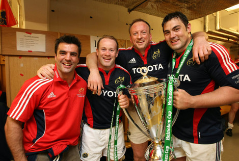 Brian Carney, Frankie Sheahan, Mick O'Driscoll and Tony Buckley in the changing room with the Heineken Cup Trophy