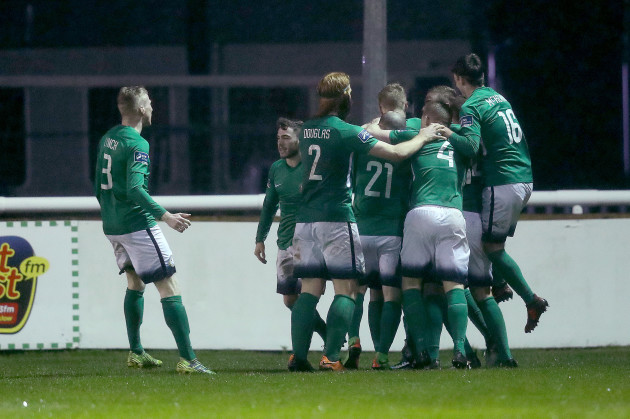 Bray celebrate Ronan Coughlan's goal