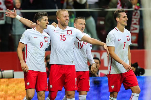 Kamil Glik (POL) gol bramka radosc goal celebration, Robert Lewandowski (POL), Piotr Zielinski (POL), Arkadiusz Milik (POL)