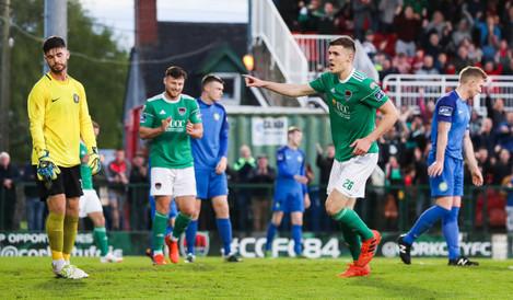 Garry Buckley celebrates scoring a goal