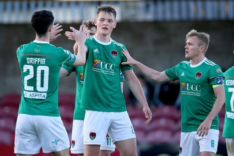 Sean McLoughlin celebrates scoring a goal with Shane Griffin and Conor McCormack