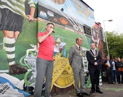 Fergus Dowd with Lord Mayor Arder Carson and Lord Mayor of Cork ArdmhŽara Chathair Chorca'