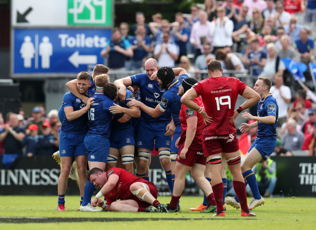 Leinster players celebrate at the final whistle