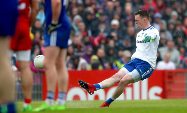 Rory Beggan kicks a free